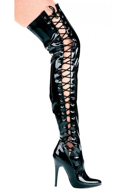 Ferocious Side Lacing Thigh High 5 Inch Heel Boot at Sensual Elegance Fashion, Lingerie and Shoes, Women's Sexy Clothing & Lingerie - Clubwear, Plus Size Clothing & Accessories