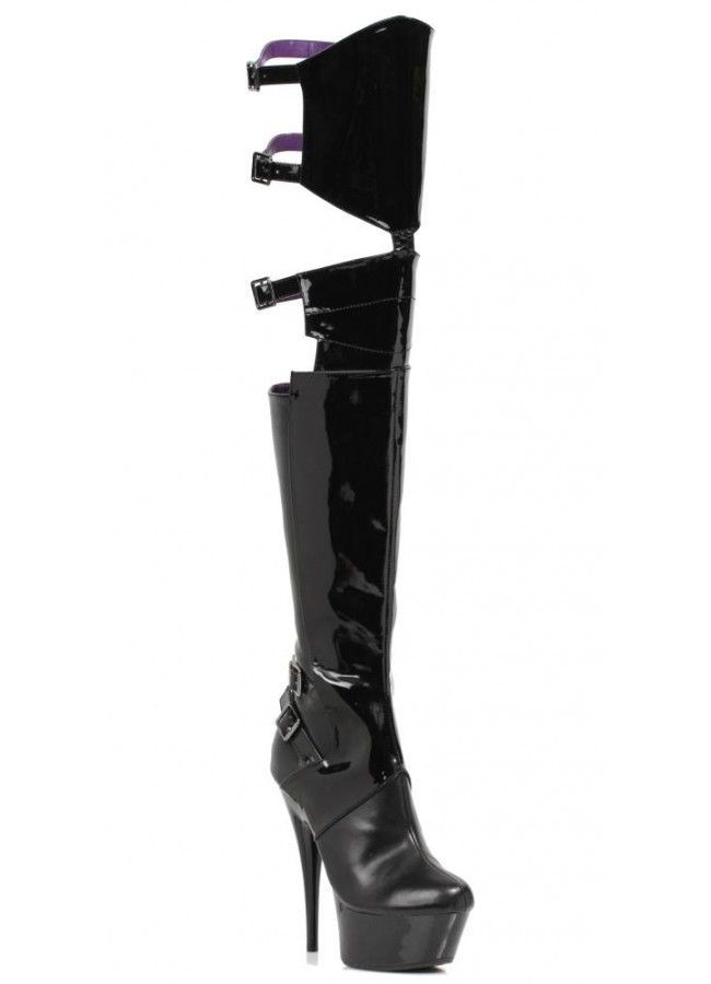 96e572fa0d1 Felicia Split Thigh High Faux Leather Platform Boot - 6 Inch Heel