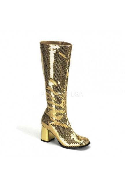 Spectacular Gold Sequin Covered Gogo Boots