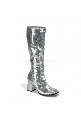 Spectacular Silver Sequin Covered Gogo Boots Sensual Elegance Fashion, Lingerie and Shoes Women's Very Sexy Lingerie & Clothing - Clubwear, Bridal Lingerie & Plus Size Lingerie