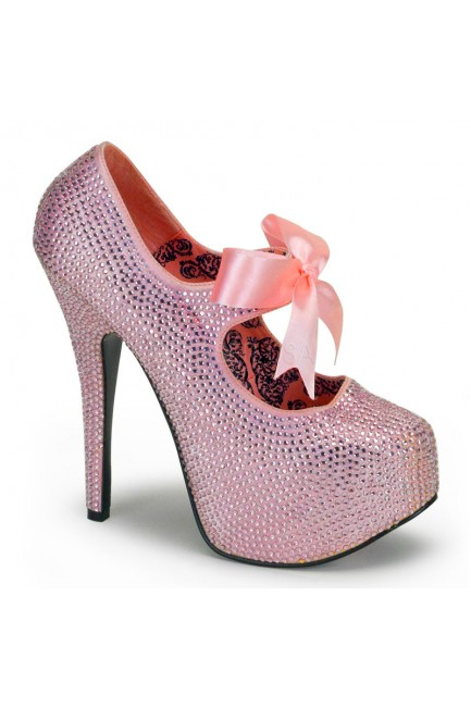Baby Pink Rhinestone Teeze Platform Pump at Sensual Elegance Fashion, Lingerie and Shoes, Women's Sexy Clothing & Lingerie - Clubwear, Plus Size Clothing & Accessories