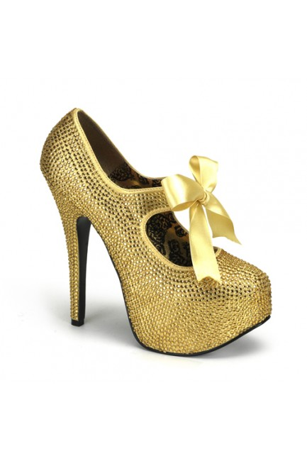 Gold Rhinestone Teeze Platform Pump at Sensual Elegance Fashion, Lingerie and Shoes, Women's Sexy Clothing & Lingerie - Clubwear, Plus Size Clothing & Accessories