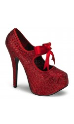 Ruby Red Rhinestone Teeze Platform Pump
