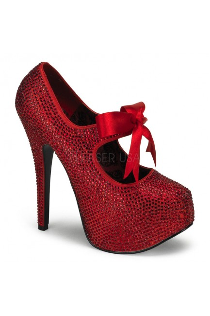 Ruby Red Rhinestone Teeze Platform Pump at Sensual Elegance Fashion, Lingerie and Shoes, Women's Sexy Clothing & Lingerie - Clubwear, Plus Size Clothing & Accessories