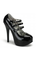 Triple Strap Black Teeze Platform Mary Jane Pump