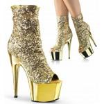 Gold Sequin Adore Platform Ankle Boots