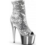 Silver Sequin Adore Platform Ankle Boots