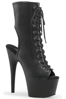 Black Faux Leather Adore Platform Ankle Boots Sensual Elegance Fashion, Lingerie and Shoes Women's Sexy Clothing & Lingerie - Clubwear, Plus Size Clothing & Accessories