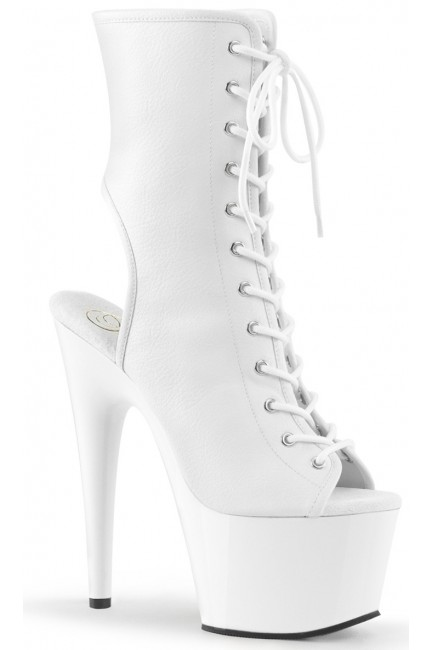 White Faux Leather Adore Platform Ankle Boots at Sensual Elegance Fashion, Lingerie and Shoes, Women's Sexy Clothing & Lingerie - Clubwear, Plus Size Clothing & Accessories