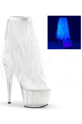 Neon White Marabou Trimmed Platform Ankle Boot Sensual Elegance Fashion, Lingerie and Shoes Women's Sexy Clothing & Lingerie - Clubwear, Plus Size Clothing & Accessories