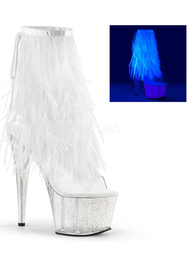 74757906d2fd Neon White Marabou Trimmed Platform Ankle Boot at Sensual Elegance Fashion
