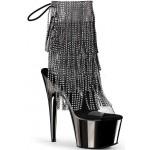 Black Rhinestone Fringe Platform Ankle Boot