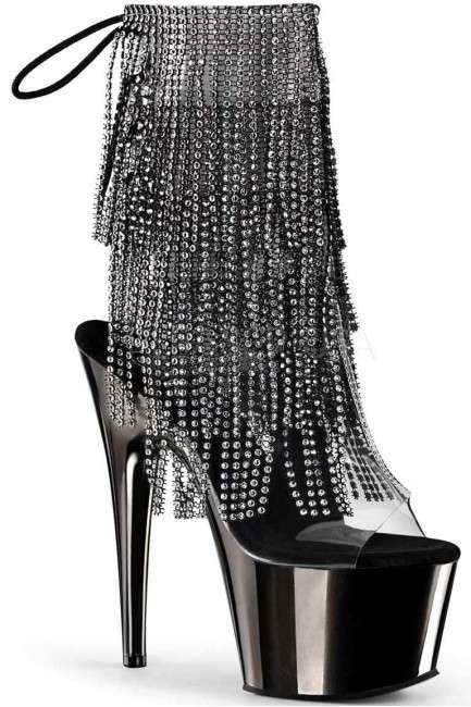 Black Rhinestone Fringe Platform Ankle Boot at Sensual Elegance Fashion, Lingerie and Shoes, Women's Sexy Clothing & Lingerie - Clubwear, Plus Size Clothing & Accessories
