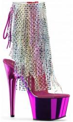 Hot Pink Rhinestone Fringe Platform Ankle Boot