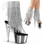 Silver Rhinestone Fringe Platform Ankle Boot