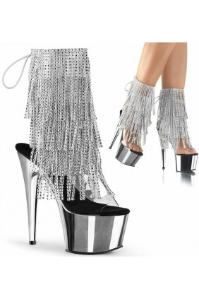 Silver Rhinestone Fringe Platform Ankle Boot Sensual Elegance Fashion, Lingerie and Shoes Women's Sexy Clothing & Lingerie - Clubwear, Plus Size Clothing & Accessories