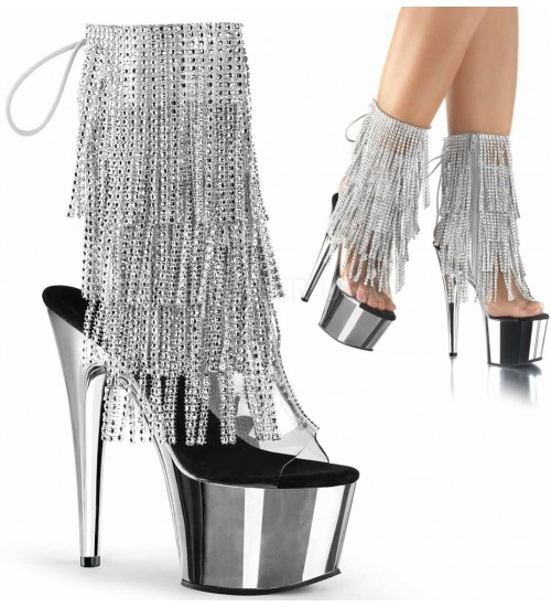 Silver Rhinestone Fringe Platform Ankle Boot at Sensual Elegance, Sexy Womens Lingerie & Clothing for All Sizes - Clubwear, Bridal & Plus Size Lingerie