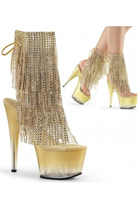 Gold Rhinestone Fringe 7 Inch Heel Ankle Boot Sensual Elegance Fashion, Lingerie and Shoes Women's Sexy Clothing & Lingerie - Clubwear, Plus Size Clothing & Accessories