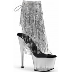 Silver Rhinestone Fringe 7 Inch Heel Ankle Boot