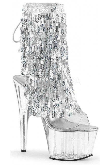 Silver Sequin Fringe 7 Inch Heel Ankle Boot at Sensual Elegance Fashion, Lingerie and Shoes, Women's Very Sexy Lingerie & Clothing - Clubwear, Bridal Lingerie & Plus Size Lingerie