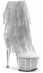 Rhinestone Fringed Silver 7 Inch Heel Ankle Boot
