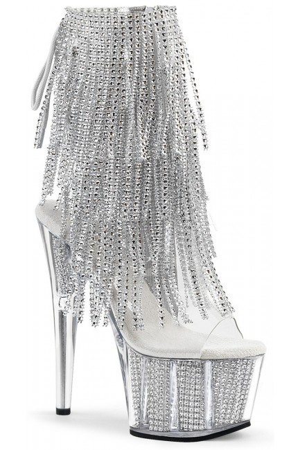 Rhinestone Fringed Silver 7 Inch Heel Ankle Boot at Sensual Elegance, Women's Very Sexy Lingerie & Clothing - Clubwear, Bridal Lingerie & Plus Size Lingerie