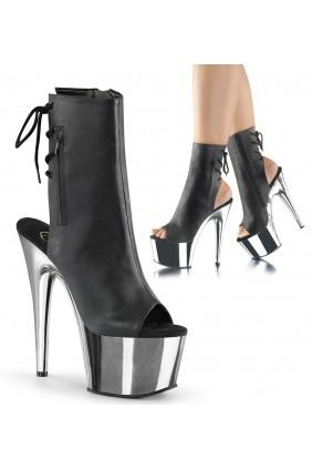 Chrome Heel Black Peep Toe and Heel Platform Ankle Boot