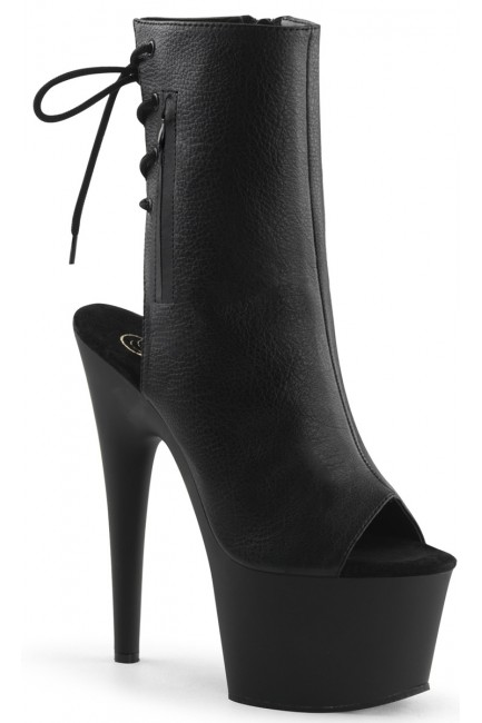 Black Peep Toe and Heel Platform Ankle Boot at Sensual Elegance Fashion, Lingerie and Shoes, Women's Sexy Clothing & Lingerie - Clubwear, Plus Size Clothing & Accessories