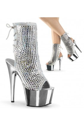 Diamond Rhinestone Silver Hologram Ankle Boot Sensual Elegance Fashion, Lingerie and Shoes Women's Sexy Clothing & Lingerie - Clubwear, Plus Size Clothing & Accessories