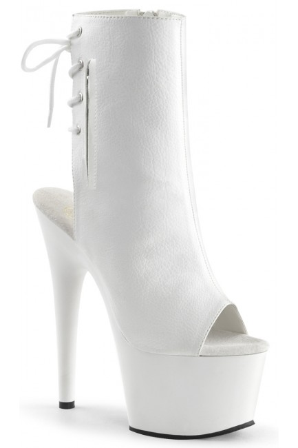 White Peep Toe and Heel Platform Ankle Boot at Sensual Elegance Fashion, Lingerie and Shoes, Women's Sexy Clothing & Lingerie - Clubwear, Plus Size Clothing & Accessories