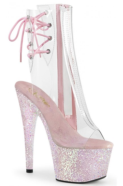 Holographic Glitter Clear Platform Adore Ankle Boot at Sensual Elegance Fashion, Lingerie and Shoes, Women's Sexy Clothing & Lingerie - Clubwear, Plus Size Clothing & Accessories