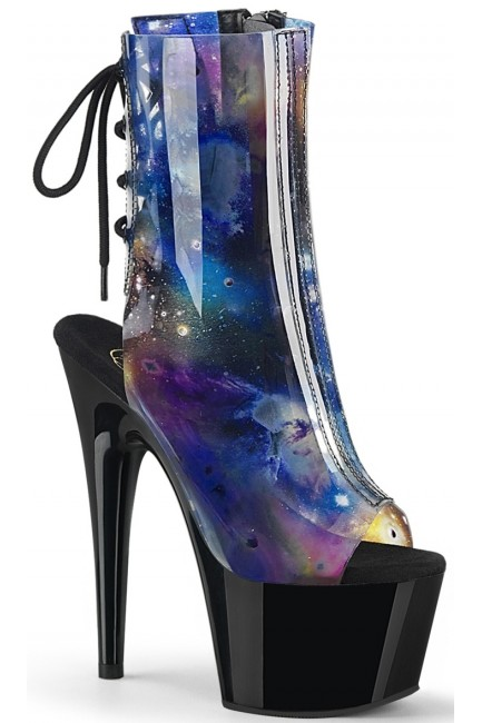 Cosmos Black Platform Ankle Boot at Sensual Elegance Fashion, Lingerie and Shoes, Women's Sexy Clothing & Lingerie - Clubwear, Plus Size Clothing & Accessories