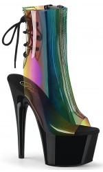 Rainbow Black Platform Ankle Boot