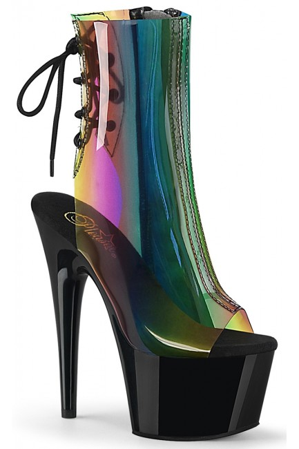 Rainbow Black Platform Ankle Boot at Sensual Elegance Fashion, Lingerie and Shoes, Women's Sexy Clothing & Lingerie - Clubwear, Plus Size Clothing & Accessories