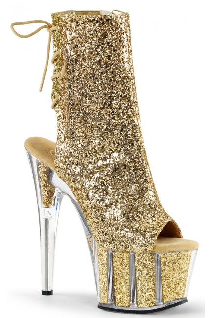 Gold Glittered Platform Ankle Boot at Sensual Elegance Fashion, Lingerie and Shoes, Women's Sexy Clothing & Lingerie - Clubwear, Plus Size Clothing & Accessories