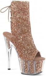 Rose Gold Glittered Platform Ankle Boot