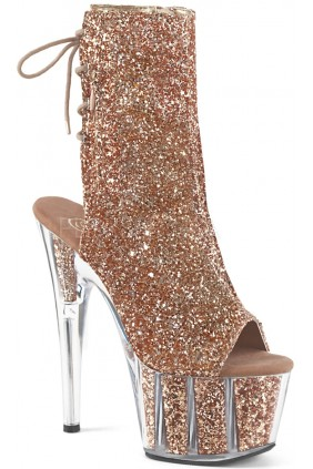 Rose Gold Glittered Platform Ankle Boot Sensual Elegance Fashion, Lingerie and Shoes Women's Sexy Clothing & Lingerie - Clubwear, Plus Size Clothing & Accessories