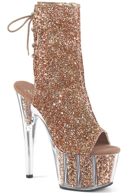 Rose Gold Glittered Platform Ankle Boot at Sensual Elegance Fashion, Lingerie and Shoes, Women's Very Sexy Lingerie & Clothing - Clubwear, Bridal Lingerie & Plus Size Lingerie