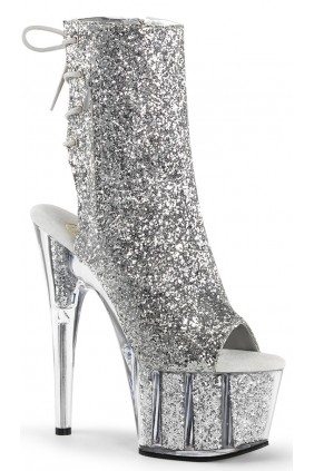 Silver Glittered Platform Ankle Boot Sensual Elegance Fashion, Lingerie and Shoes Women's Sexy Clothing & Lingerie - Clubwear, Plus Size Clothing & Accessories