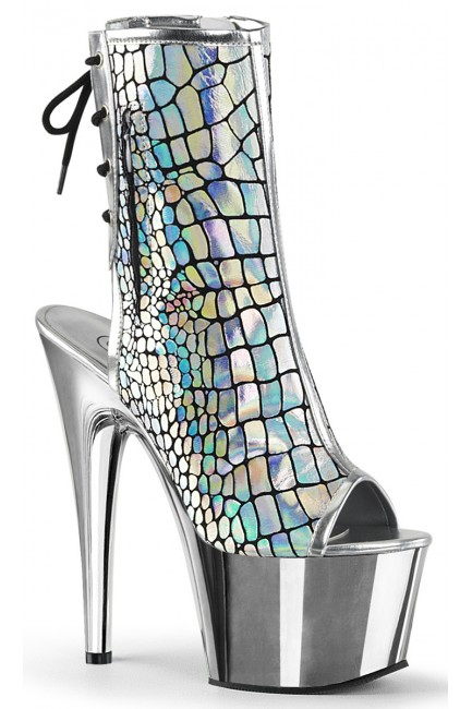 Hologram Chrome Platform Ankle Boot at Sensual Elegance Fashion, Lingerie and Shoes, Women's Sexy Clothing & Lingerie - Clubwear, Plus Size Clothing & Accessories