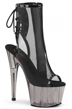 Black Mesh Adore-1018 High Heel Ankle Boot