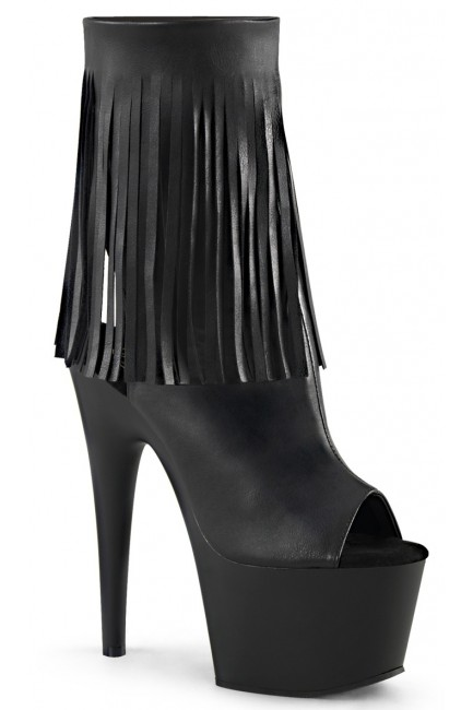Fringed Black Peep Toe and Heel Platform Ankle Boot at Sensual Elegance Fashion, Lingerie and Shoes, Women's Sexy Clothing & Lingerie - Clubwear, Plus Size Clothing & Accessories
