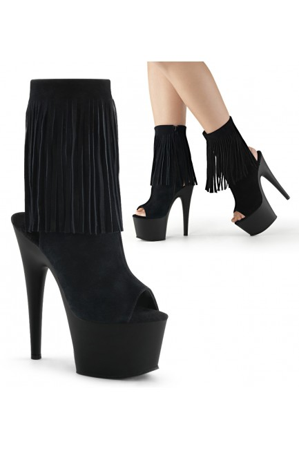 Fringed Black Suede Peep Toe and Heel Platform Ankle Boot at Sensual Elegance Fashion, Lingerie and Shoes, Women's Sexy Clothing & Lingerie - Clubwear, Plus Size Clothing & Accessories