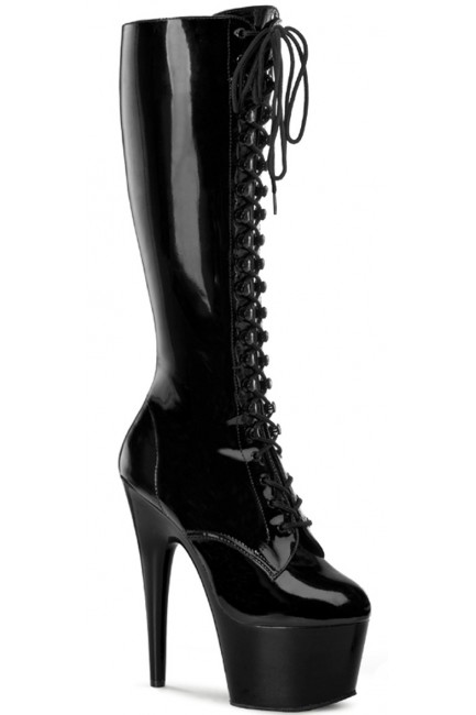 Adore Knee High Black Patent Platform Granny Boot at Sensual Elegance Fashion, Lingerie and Shoes, Women's Sexy Clothing & Lingerie - Clubwear, Plus Size Clothing & Accessories