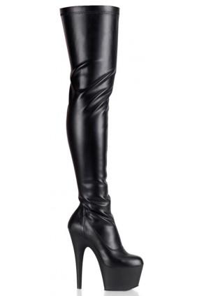 Adore Black Matte Thigh High Platform Boot