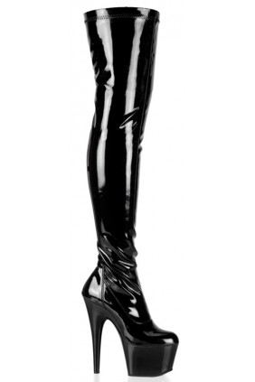 Adore Black Patent Thigh High Platform Boot