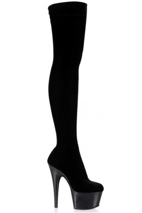 Adore Black Velvet Thigh High Platform Boot Sensual Elegance Fashion, Lingerie and Shoes Women's Sexy Clothing & Lingerie - Clubwear, Plus Size Clothing & Accessories