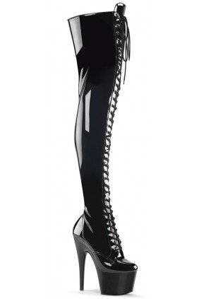 Adore Black Lace Up Thigh High Platform Boot