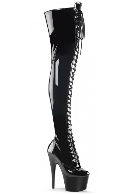 Adore Black Lace Up Thigh High Platform Boot at Sensual Elegance Fashion, Lingerie and Shoes, Women's Sexy Clothing & Lingerie - Clubwear, Plus Size Clothing & Accessories
