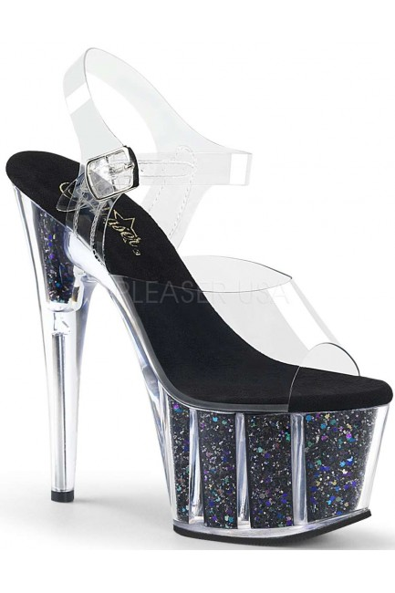 Black Confetti Filled Clear Platform Adore Sandals at Sensual Elegance Fashion, Lingerie and Shoes, Women's Sexy Clothing & Lingerie - Clubwear, Plus Size Clothing & Accessories